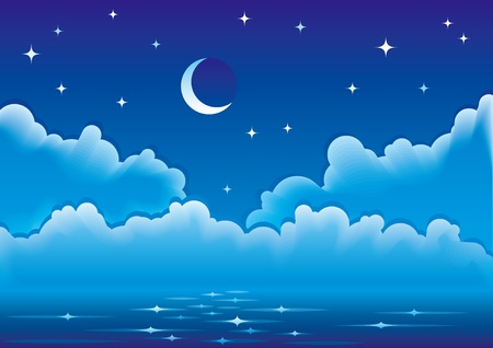 Calm night sea with clouds, moon and stars.