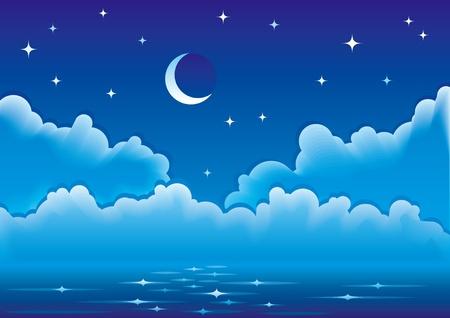 Kalme nacht op zee met wolken, maan en sterren.