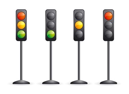 señal transito: Conjunto de cuatro semáforos de vectores con diferente curvada sobre