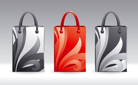 Three vector shopping bags in different color schemes. Çizim