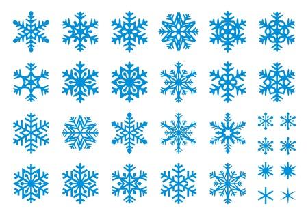Set 30 sneeuwvlokken, sommige met scherpe randen en sommige met afgeronde hoeken.  Vector Illustratie