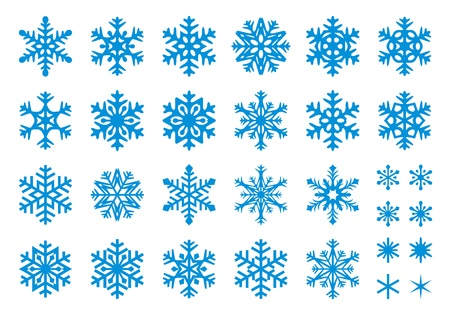Set of 30 snowflakes, some with crisp edges and some with rounded angles.  Illustration