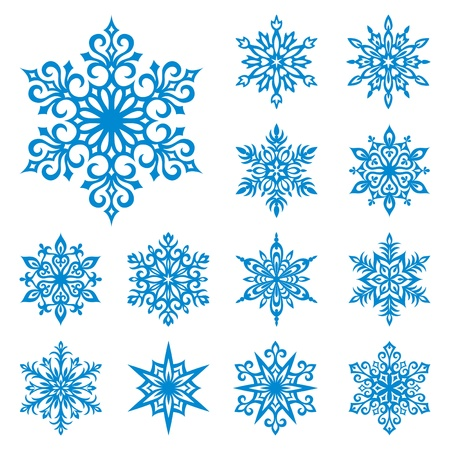 Set of 13 detailed vector snowflakes