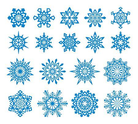 Reeks 18 sneeuwvlokken. Stock Illustratie