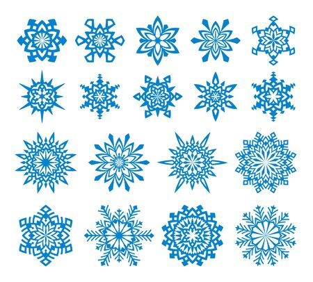 Set of 18 snowflakes.