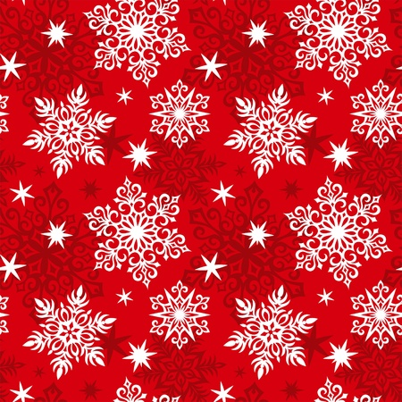 Seamless snowflakes pattern. Red color