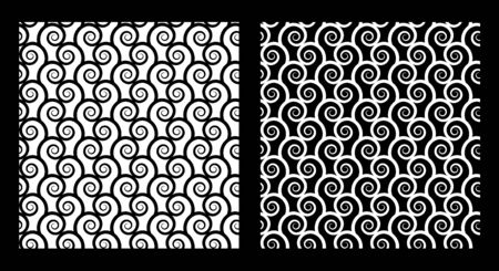 monochromatic: Two seamless patterns with spirals in black and white. EPS8 vector.