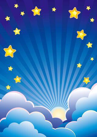 Avond hemel met wolken, sterren en ondergaande zon Stock Illustratie