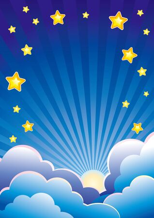 Evening sky with clouds, stars and setting sun Stock Vector - 10928016