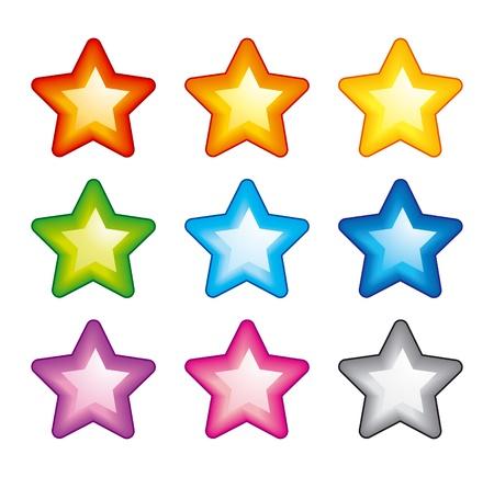 Vector ster iconen van de kleuren van de regenboog Stock Illustratie