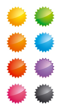 Set of glossy star-shaped labels in different colors Stock Vector - 10928114