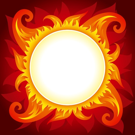 fire circle: Square background with flame or active sun with round place for text in center of it. Fully editable vector.
