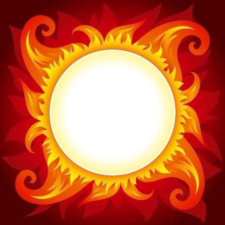 Vierkante achtergrond met een vlam of actieve zon met ronde plaats voor tekst in het midden van het. Volledig bewerkbare vector. Stock Illustratie