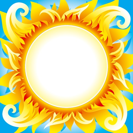 Bright fiery sun on blue sky with round place for text in center of sun. Fully editable vector.