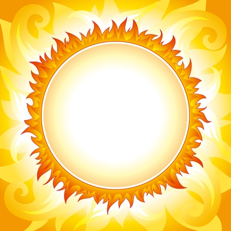 zenith: Bright fiery sun on yellow-orange decorative sky with round place for text in the center of the sun. Fully editable vector.