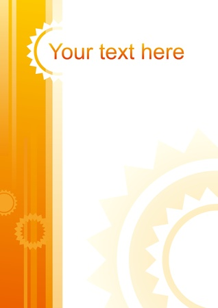 Abstract yellow background with sun-shaped elements