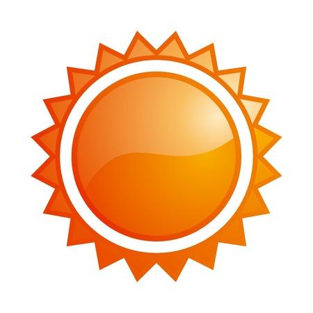 sun glass: Vector de brillante sol naranja icono