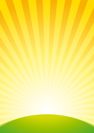 light beams: Vector background with sunrise over green hill