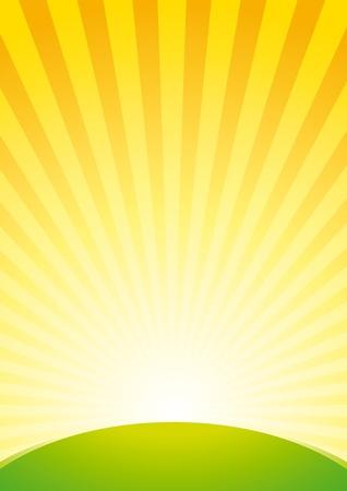 Vector de fondo con la salida del sol sobre la colina verde Ilustración de vector