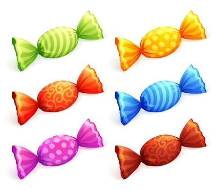 Geïsoleerde kleurrijke snoepjes. Vector Illustratie