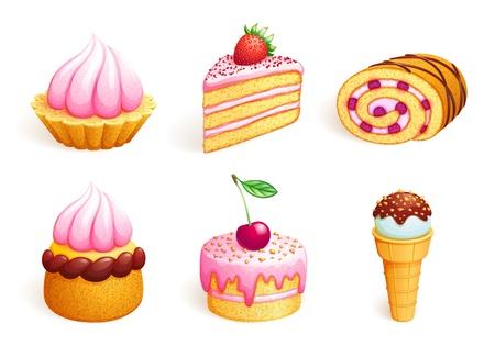 trozo de pastel: Conjunto de dulces. Vectores
