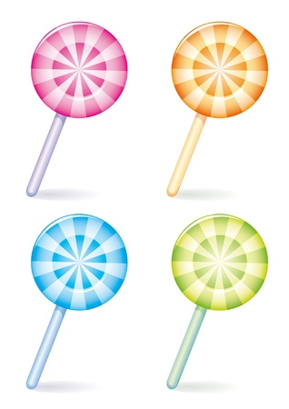 differently: Set of four differently coloured striped candies