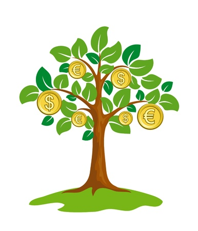 grow money: Money tree with coins.