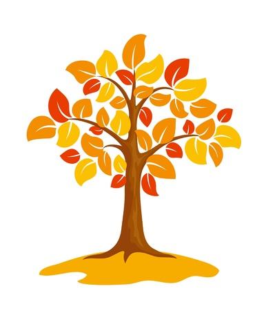 Stylized autumn tree.   Illustration
