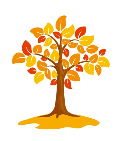 Stylized autumn tree.   Illustration