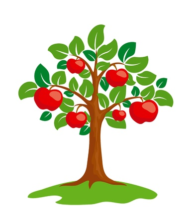 Stylized apple-tree.   Illustration