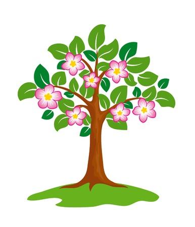 様式化された咲く木。