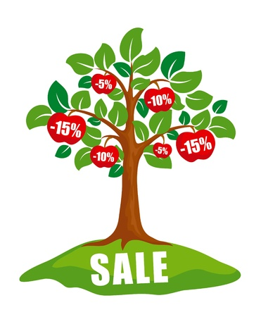 Sale concept: tree with discounts on apples.
