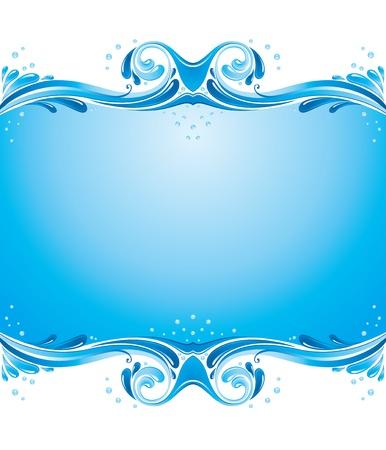 対称の背景に水の飛散、いくつかの泡  イラスト・ベクター素材