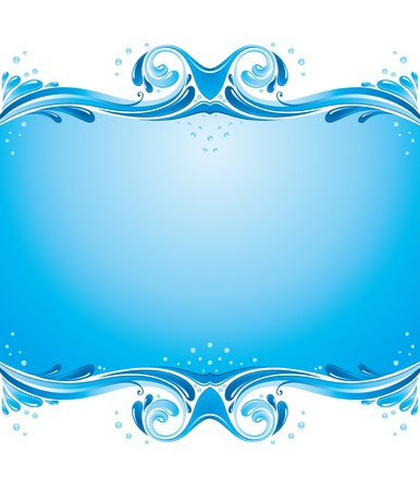 Symmetric background with water splashes and some bubbles Illustration