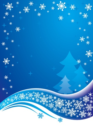 Blue Christmas background.  Illustration