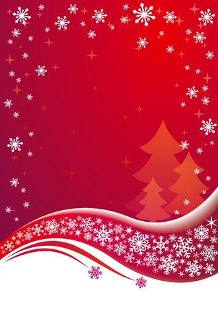 newyear night: Red Christmas background.  Illustration