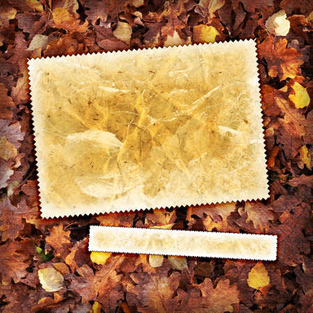 Vintage autumn background with canvas texture photo