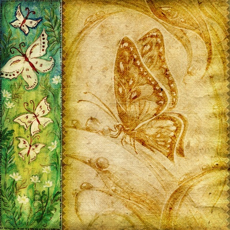 Textured background with natural painted butterflies photo