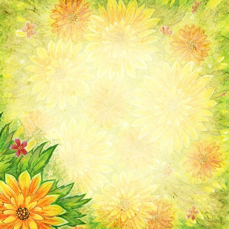 Scrapbook background with natural painted chrysanthemums Stok Fotoğraf