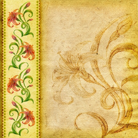 Vintage textured background with natural drawn lilies Stok Fotoğraf