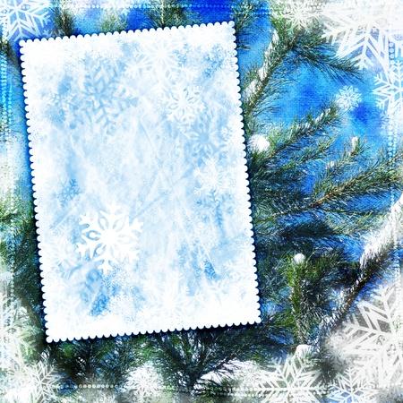 キャンバスのテクスチャとビンテージ冬の背景 写真素材