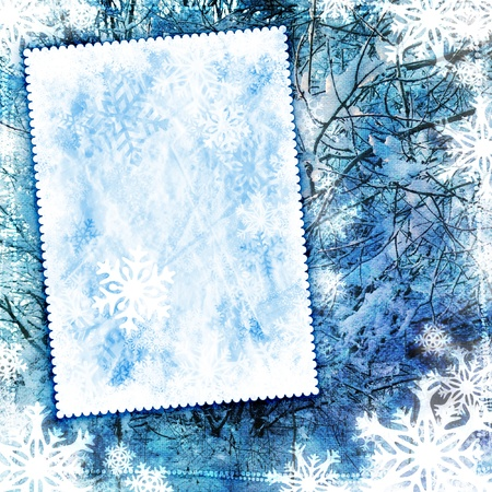 Vintage winter background with canvas texture photo