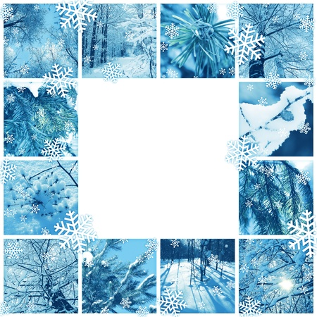 Winter frame design - mosaic of several photos Stock Photo
