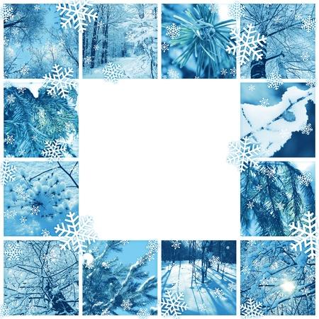 winter photos: Winter frame design - mosaic of several photos Stock Photo
