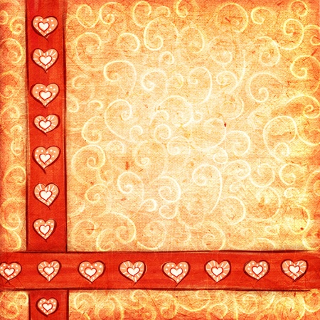 Textured scrap-book background with hearts and curls.