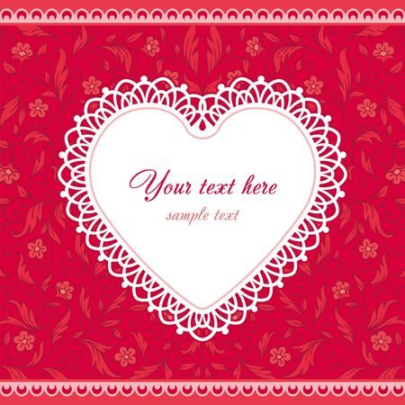 retro lace: White lace heart on red floral background