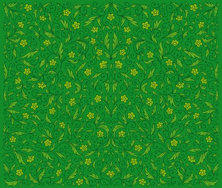 Symmetrical green floral pattern    Stock Vector - 10966277