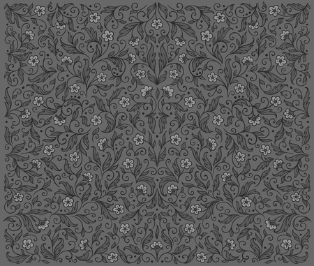 Symmetrical grey floral pattern    Stock Vector - 10966275