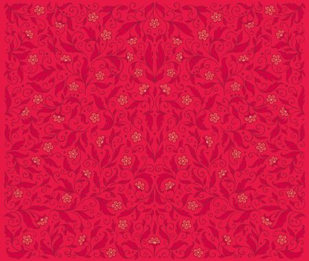 Symmetrical red floral pattern  EPS8 Vector