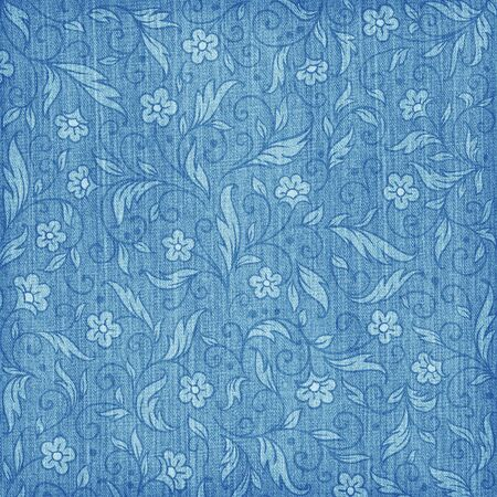 Denim textured background with floral pattern Stock Photo - 10966281